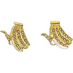 Yellow Banana Rhinestone Gold Tone Small Stud Post Earrings