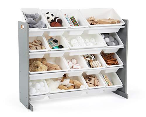 Humble Crew Supersized Wood Toy Storage Organizer, Extra Large, Grey/White