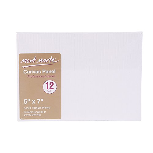 Mont Marte Canvas Panel (pack of 12), 5 X 7 inches, Canvas Panel Great for Students to Professional Artists