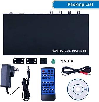 Amazon Com E Sds 4 X 4 Matriz Hdmi Interruptor Soporte 4 K A 60 Hz Yuv444 4 K Matriz Hdmi Apoyo 18 Gbps Hdmi 2 0 Hdcp 2 2 Hdr Mando A Distancia Por Infrarrojos Rs232 Control