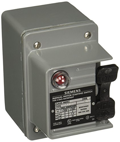 Siemens MMSKW1A Fractional HP Switch, Single and 3 Phase, NEMA Type 4 Watertight Enclosure, Toggle Operator Type, Red Pilot Light 115VAC Switch Feature, 2 Poles (Type Operator Toggle)