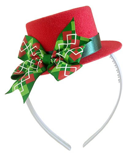[Mad Hatter Green Bow Red Mini Top Hat Headband Alice in Wonderland Birthday Tea Party Baby Shower] (Kids Mad Hatters Tea Party Costumes)