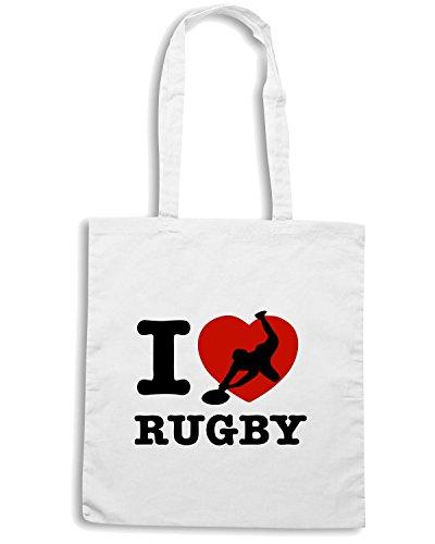 T-Shirtshock - Bolsa para la compra TRUG0020 i love rugby light logo Blanco