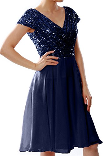 Short Sequin Cap Wedding Sleeve MACloth Formal Dunkelmarine Women Dress Gown Bridesmaid Party tnwx1qC1H