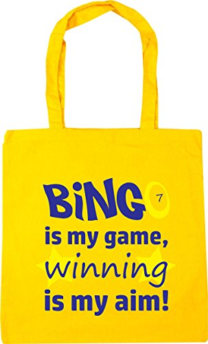 HippoWarehouse Bingo is my Game, Winning is my Aim Tote Shopping Gym Beach Bag 42cm x38cm, 10 litres Yellow