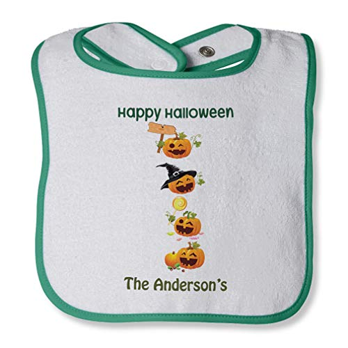 Personalized Custom Halloween Pumpkin Party Cotton Boys-Girls Baby Terry Bib Contrast Trim - White Green, One -