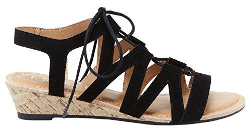 Esprit Donna Corta Ritaglio Laser Geometrico Ghillie Lace Up Sughero Sandalo Con Zeppa Nero