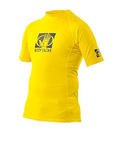 (JetPilot Body Glove Junior Basic Fitted Short Arm Rash Guard, Yellow, Size 8 )