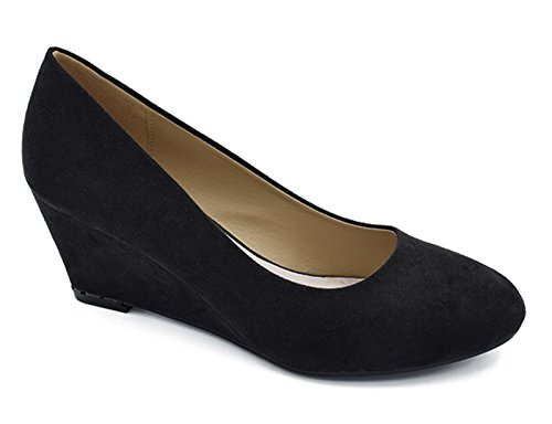 Suede Patent And Wedges - Greatonu Women's Black Suede Formal Office Wedge Platform Mid Heel Dress Pumps Shoes Size 10