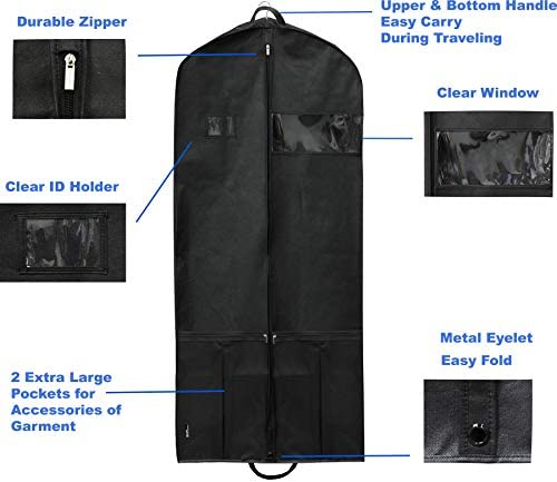 Simplehousware 54-Inch Heavy Duty Garment Bag w/Pocket for Suits, Tuxedos, Dresses, Coats