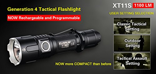 Klarus XT11S Tactical Flashlight Bundle CREE XP-L HI V3 LED 1100lms, Rechargeable 18650 and 2 CR123A Spare Batteries, Lanyard, Clip, O Ring, Holster, USB Charging Cable, TradingBuzz Battery Box by Klarus (Image #1)