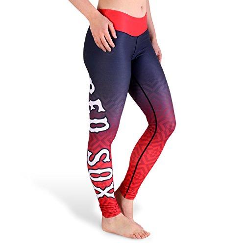 KLEW MLB Boston Red Sox Gradient Big Logo Print Leggings, Red, Medium