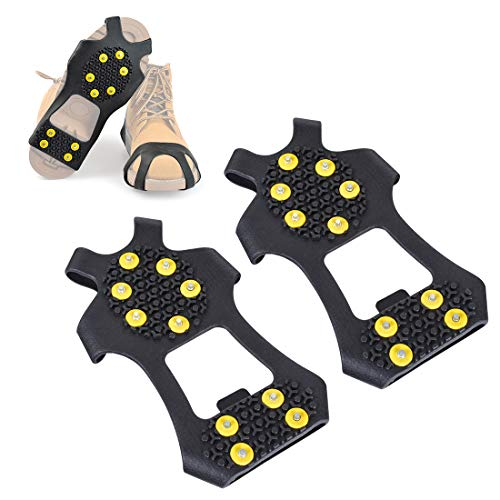 Xcellent Global 10-Stud Anti-slip Ice Snow Grips Shoes covers, 10 claws ice snow crampons Spikes Grip Grips, Crampons, Cleats (Medium)