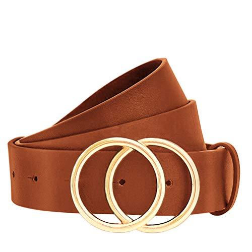 WONDAY Women Leather Belt-Womens Jeans Belt-Women Pants Belt-Dress Belt Ladies Skinny Leather Belts with Alloy Retro Buckle