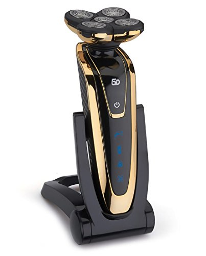 Shaver, LEDTEEM Five Floating Cutting Heads Electric Shaver Rechargeable Waterproof Rotary Shaving Razor with Pop-up Trimmer and Two Kinds of Charging for Men (Black/Golden) by ledteem