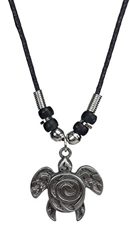 Pewter Fashion Jewelry - Turtle Necklace with Spiral - Turtle Jewelry - Hawaiian Jewelry - Spiral Necklace- Tortoise Necklace (Pewter)