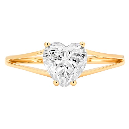 1.70 ct Brilliant Heart Cut Solitaire Engagement Wedding Bridal Promise Ring in Solid 14k Yellow Gold, Size 7.75 Clara Pucci by Clara Pucci