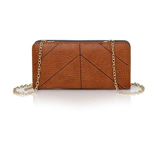 Artisan Crossbody Design Herringbone Multi Cognac Wallet Vegan Bifold Leather Herringbone Clutch Boho Carry Checkbook qSxnf4E