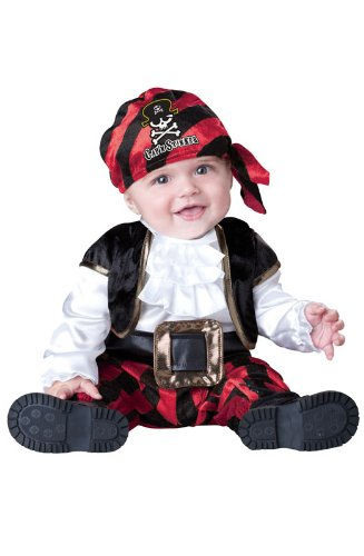 InCharacter Costumes Baby's Cap'N Stinker Pirate Costume, Black/White/Red, Small -