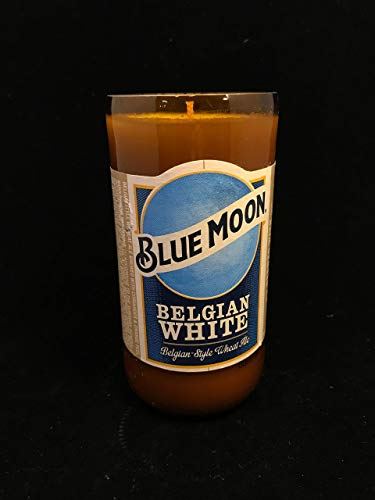 Moon Milk Scented 8 Oz Soy Candle Blue Moon Repurposed Bottle -