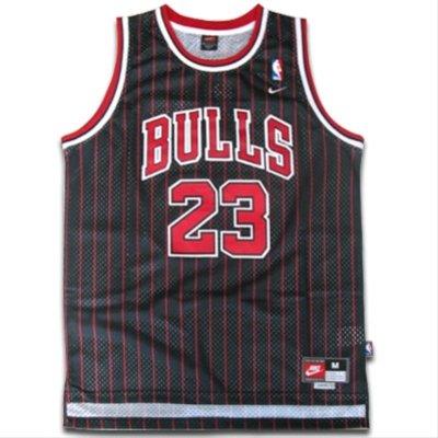 (Michael Jordan #23 Chicago Bulls NBA Jersey Black Pinstripe Size XXL)