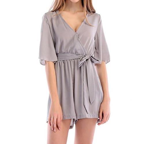DressUWomen DressU Womens V Neck 1/2 Long Sleeve Solid-Colored LooseShort Romper Jumpsuit