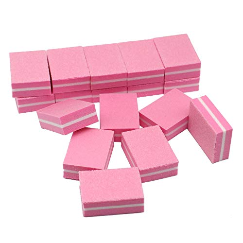Nail File - 50pcs Mini Pink Nail File Buffer Sponge Lime A Ongle Professionel 100/180 Grit 2 Side Manicure Tool Sandpaper Small Cube Design - Canoda