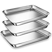 Toaster Oven Tray Pan, 3PCS Small Cookie Sheet Stainless Steel Baking Trays by BYkooc, Dishwasher Safe Oven Pans,Heavy Duty, Mirror Finish, Anti-rust,10&9&9 inch