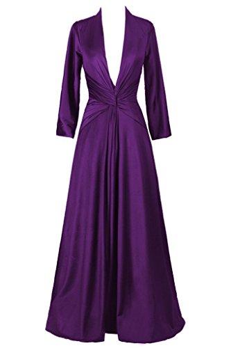 Dresstore Women's V-neck Long Sleeves Evening Formal Dresses Purple US 24Plus