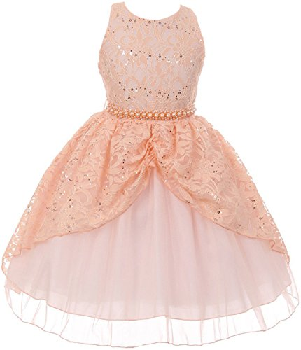 (Big Girl Brocade Lace Sequin Pearl Pageant Easter Wedding Flower Girl Dress Peach 10 CB 1711)