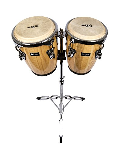 NEW DeRosa CGA0910 Bongo 8'' & 9'' Natural Conga set with stand by De Rosa