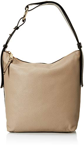 Calvin Klein womens Calvin Klein Liana Pebble Leather Belted Top Zip Slouchy Hobo, porcini, One Size