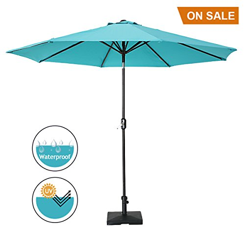 SUMBEL 9′ Patio Umbrella Outdoor Table Market Umbrella Aluminum Pole Push Button Tilt with 8 Sturdy Steel Ribs, Turquoise Review