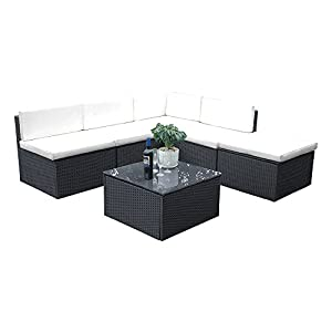 Britoniture Rattan Garden Furniture Set Lounge Corner Sofa Table and Chairs Black