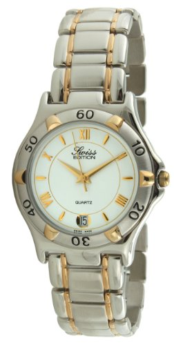 Swiss Edition Men's Bracelet Watch with Two Tone 23K Gold Plated & Silver Sport Bezel and Swiss Made Analog Quartz Movement ()