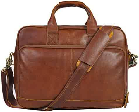 Genuine Leather Briefcase Messenger Bag Sturdy Durable(Double Metal connection,Multiple Suture) Fits 15.6''Laptop No Fading (Red Brown)