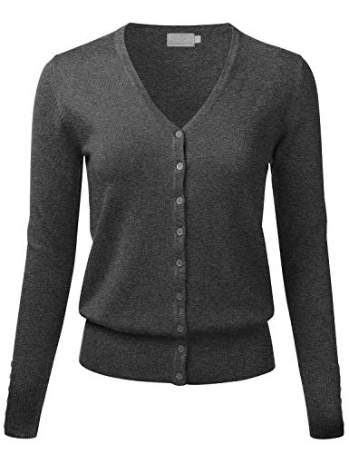 FLORIA Women's Button Down V-Neck Long Sleeve Soft Knit Cardigan Sweater CHARCOALGRAY 2XL ()