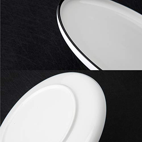 (Porcelain Plates Dinner Plate Set white Size 8-inch 6-Piece Elegant white with black circle mirror Dinnerware)