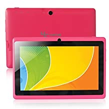 "Yuntab 7"" Q88 Allwinner A33 Quad-core Tablet PC, Capacitive, Google Android 4.4 ,with Dual Camera Google Play Pre-loaded, External 3G ,3D-Game Supported 5 Point Multi Touch Screen Rosy"
