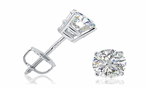 I.G.I Certified 1/4 Cttw Diamond Stud Earrings set in 14K White Gold by LOTUS COLLECTION