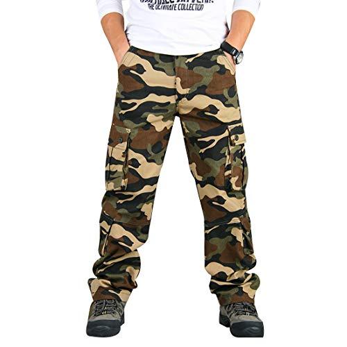 zeetoo Mens Relaxed-Fit Cargo Pants Multi Pocket Military Camo Combat Work Pants GZ03 Khaki Camo