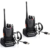 Ammiy baofeng 2 PCS Walkie Talkies 16CH Signal Band UHF 400-470 MHz BF-888S 1500MAH Li-ion Battery Two Way Radio Rechargeable Long Range Headset Headphone Built in LED Torch with USB Plug