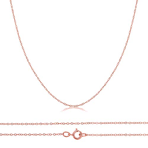 14K Solid Yellow, White, Or Rose Gold 0.5mm Diamond Cut Cable Pendant Chain, 18