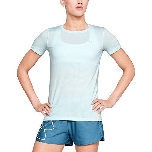 Under Armour Women's HeatGear Armour Short Sleeve, Halogen Blue, X-Large