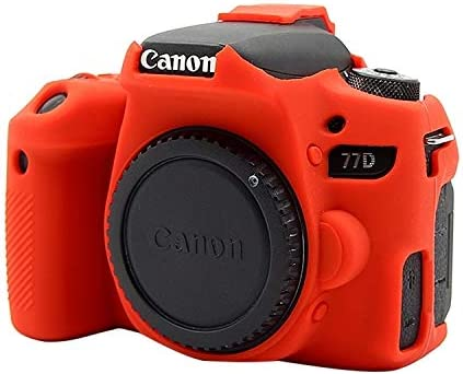 Ychaoya Camera Case Wuzpx Easygoing Silicone Protective Case for Canon EOS 77D Color : Red