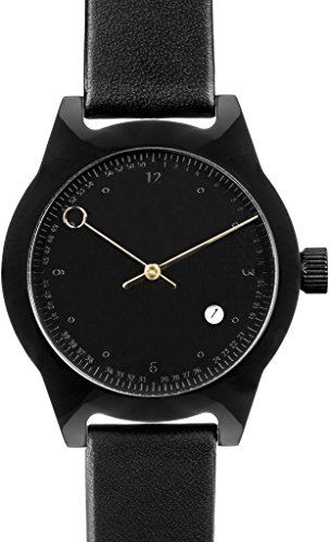 Squarestreet Sq03-b-09 Unisex Minuteman Acetate Case Black Leather Black Watch