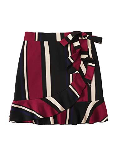 WDIRARA Women's Elegant Summer Striped Ruffle Hem Knot Side Wrap Skirt Multicolor L