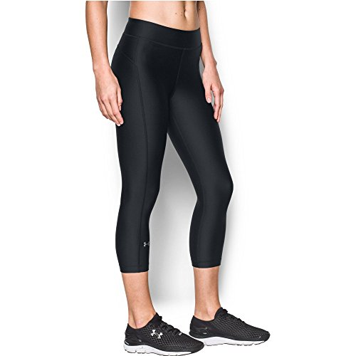 Under Armour Women's HeatGear Armour Capri, Black/Black, Large