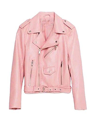 Punk Pelle Stile Manica Lunga Jacket A Giacca Moto Pink Saideng Pu Donna 5Uqxpn7