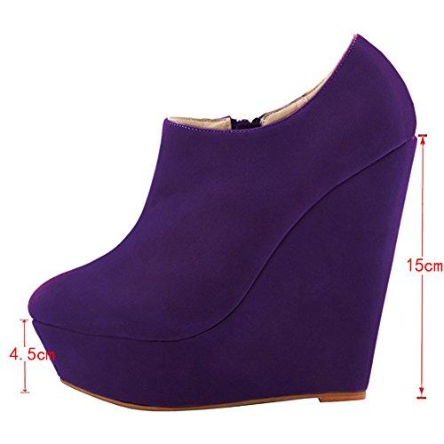Pure EKS Platform Damiasu Dress Wedge Color Women's Boots Heels Zipper Purple RxnZRq4
